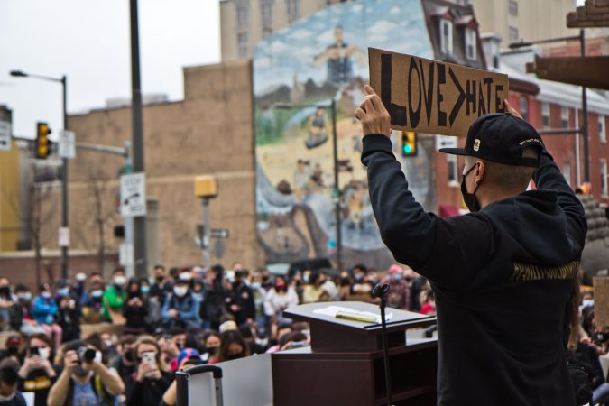 About 300 Philadelphians joined a solidarity rally against hate at 10th and Vine streets on March 25, 2021 in response to the murders of several people of Asian descent at spas near Atlanta, Georgia. (Kimberly Paynter/WHYY)