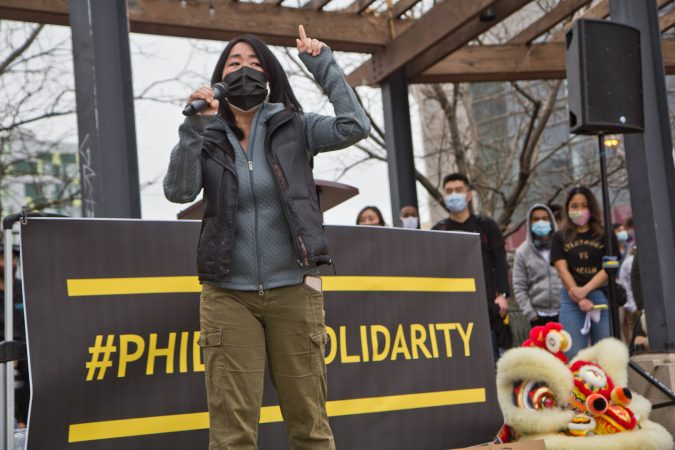 City Councilmember Helen Gym speaks during a rally and march against anti-Asian violence on March 25, 2021. (Kimberly Paynter/WHYY)