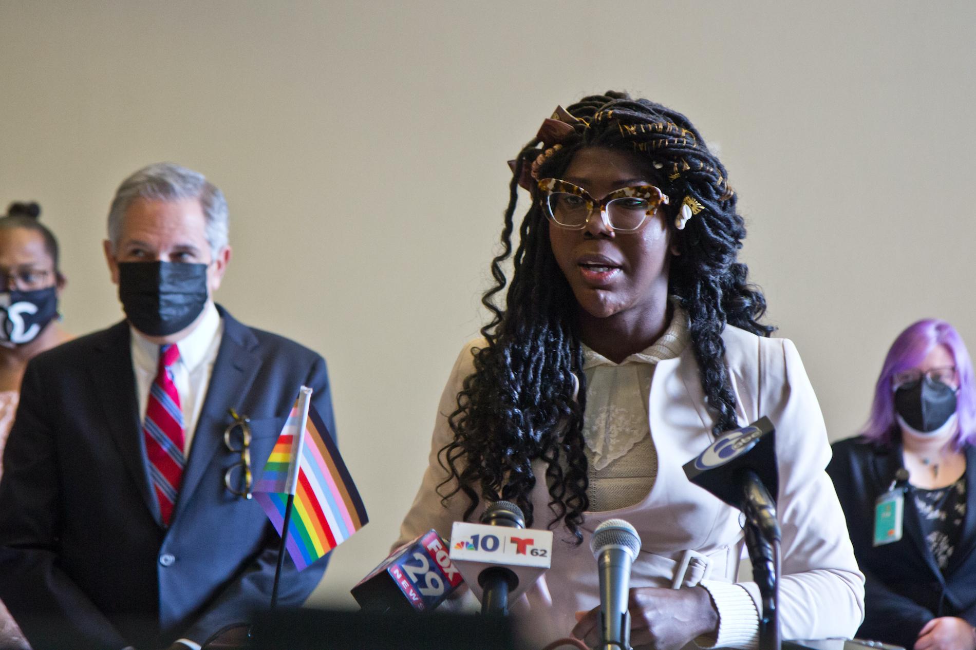 Kendall Stephens speaks at a podium