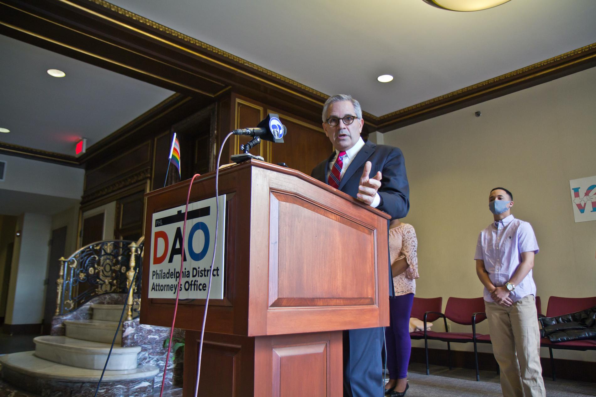 Philadelphia District Attorney Larry Krasner speaks at a press conference