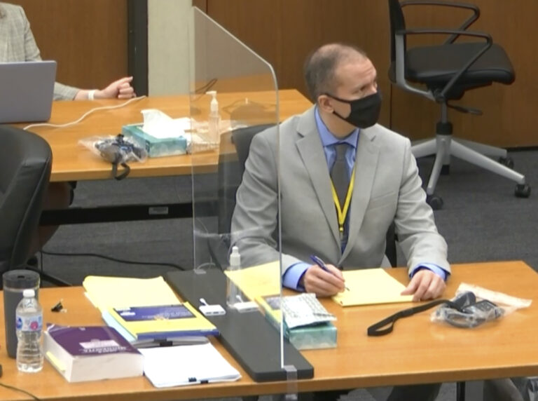 In this image from video, defendant and former Minneapolis police officer Derek Chauvin, right, listens as Hennepin County Judge PeterCahill presides over pretrial motions before jury selection Tuesday, March 9, 2021 at the Hennepin County Courthouse in Minneapolis.  Chauvin is charged in the May 25, 2020 death of George Floyd. (Court TV, via AP, Pool)