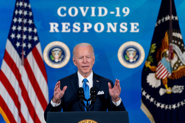 In the March 10, 2021, photo, President Joe Biden speaks in the South Court Auditorium in the Eisenhower Executive Office Building on the White House Campus in Washington. (AP Photo/Andrew Harnik)