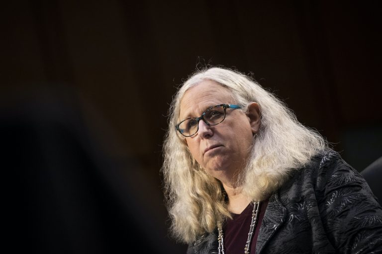 In this Feb. 25, 2021, file photo, Rachel Levine, nominated to be an assistant secretary at the Department of Health and Human Services, testifies before the Senate Health, Education, Labor, and Pensions committee on Capitol Hill in Washington. (Caroline Brehman/Pool via AP)