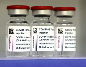 AstraZeneca COVID-19 vaccines are seen inside a fridge