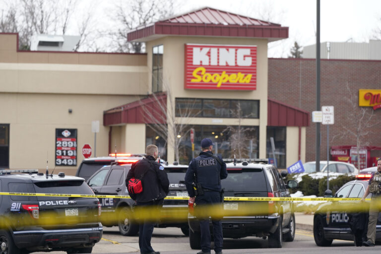 Police outside a King Soopers grocery store where a mass shooting took place