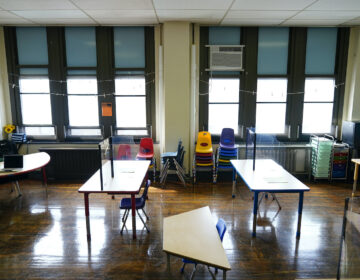 Desks are spaced apart ahead of planned in-person learning at Nebinger Elementary School
