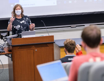 First day of classes for the Fall 2020 semester: Lydia Timmins, Assistant Professor of Communications, kicks off her Fall Semester 2020 class