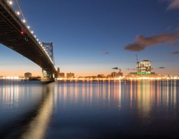 The Delaware River at the Ben Franklin Bridge between Camden and Philadelphia. (Kelly Kiernan/Unsplash)