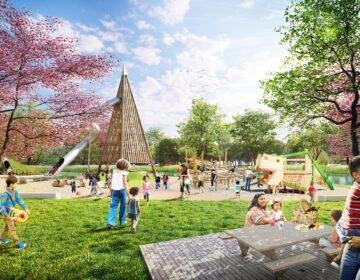 An's artist's rendering of a three-acre playground planned for FDR Park. (City of Philadelphia)
