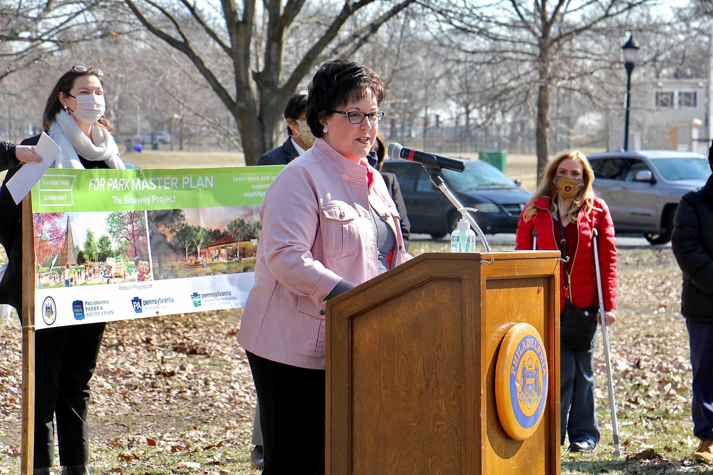 Philadelphia Parks and Recreation Commissioner Kathryn Ott Lovell speaks at a press conference