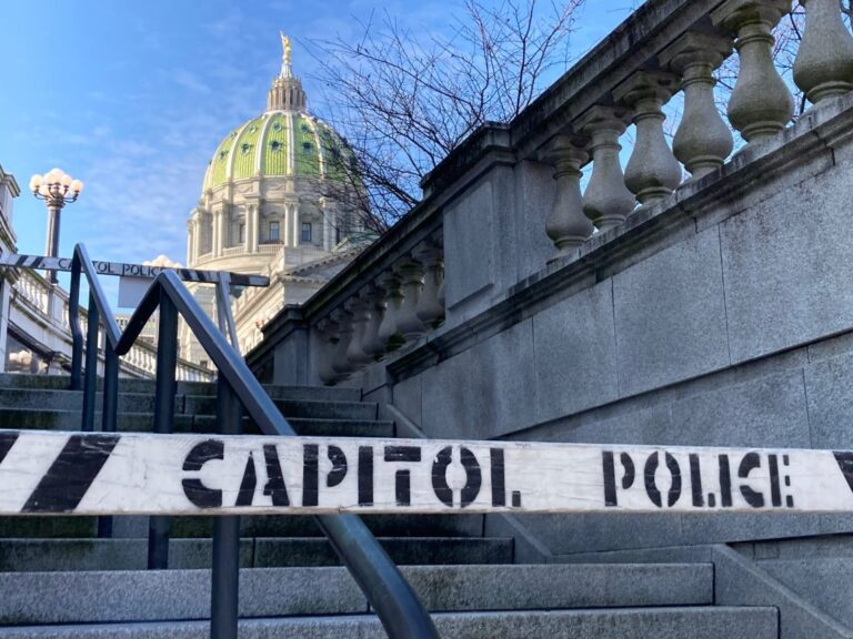 Barricades block stairs at the Pennsylvania Capitol on Jan. 12, 2021. (Sam Dunklau / WITF)