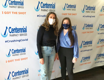 Nicole Marquis, restaurant owner and co-founder of the Save Philly Restaurants coalition, and Lindsay Dymowski Constantino, president and owner of Centennial Pharmacy, worked together to provide vaccine doses to food industry workers. (Laura Benshoff/WHYY)