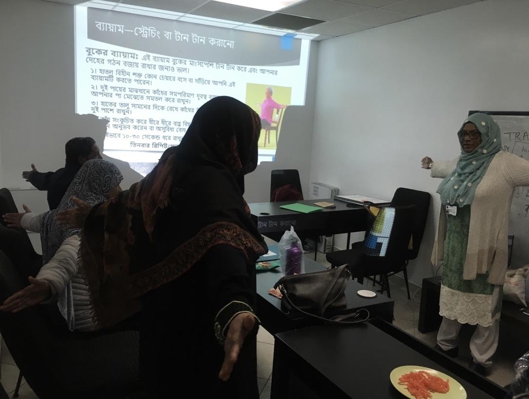 Nahar Alam leads an exercise class