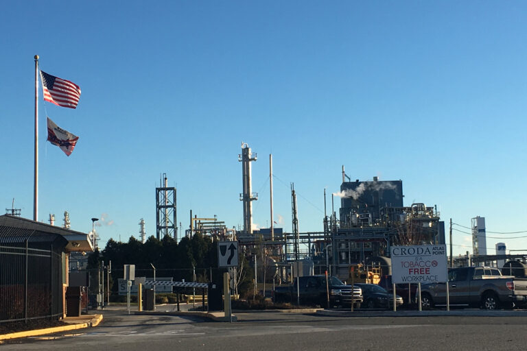 Croda's Atlas Point plant near the Delaware Memorial Bridge. (Mark Eichmann/WHYY)