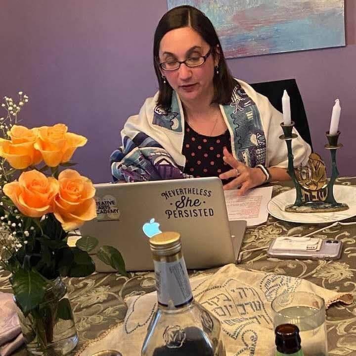Rabbi Leah Berkowitz, of Congregation Kol Ami in Elkins Park, hosts an online Shabbat service early in the pandemic in 2020. (Courtesy of Leah Berkowitz)