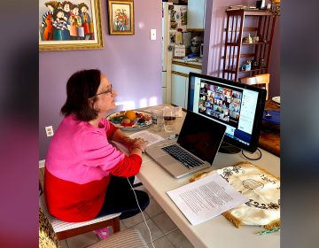 Amy Berkowitz during an online Passover Seder in 2020. (Courtesy of Amy Berkowitz)
