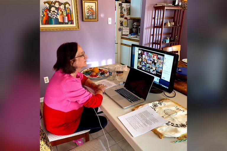 Amy Berkowitz during an online Passover Seder in 2020. (Courtesy of Amy Berkowitz)