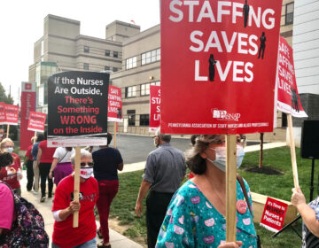 Nurses at St. Christopher's Hospital for Children held an informational picket in September 2020 and staffing was the main points of emphasis. (Courtesy: PASNAP)