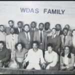 In this archival photo at WDAS, Tony Brown sits in the front row fourth from the left with Dyana Williams to his immediate left. Cody Brown stands immediately behind Anderson. (Courtesy of Dyana Williams)