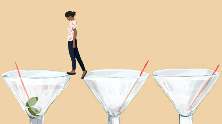 An illustration of a woman standing on martini glasses.