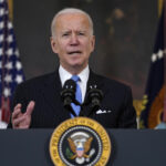President Biden speaks at the White House about efforts to combat COVID-19 on Tuesday. (Evan Vucci/AP)