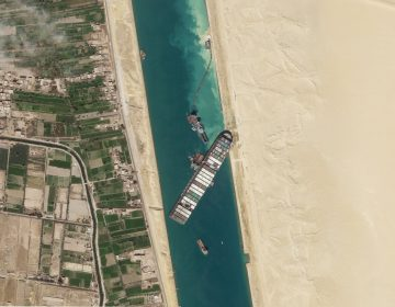 A satellite image shows the cargo ship MV Ever Given stuck in the Suez Canal