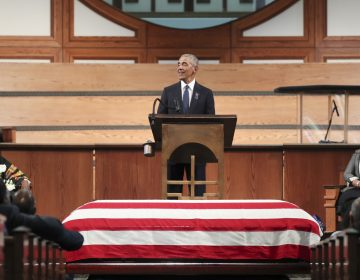Former President Barack Obama addresses the service during the funeral for the late Rep. John Lewis