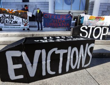 Tenants' rights advocates demonstrated in Boston in January, calling on the Biden administration to extend the CDC eviction moratorium. (AP)