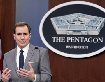 Pentagon spokesman John Kirby, seen here at the Pentagon last week, announced the military's new policies on Wednesday, International Transgender Day of Visibility. (Andrew Harnik/AP)
