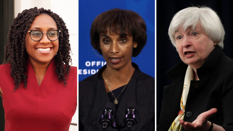 From left: Chief Labor Department economist Janelle Jones, chair of the Council of Economic Advisers nominee Cecilia Rouse and Treasury Secretary Janet Yellen. (Department of Labor and Alex Wong/Getty Images)