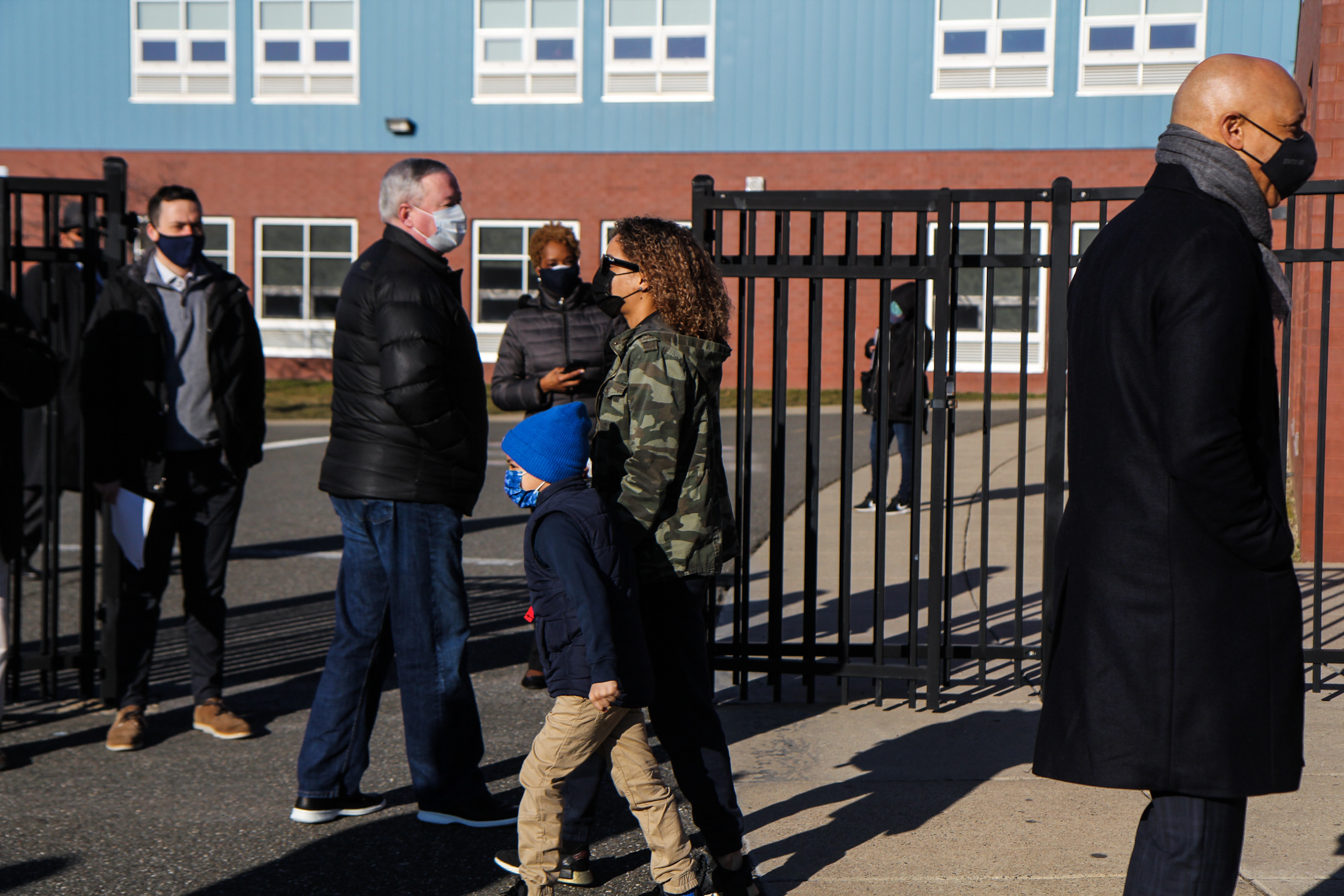 Philadelphia School District Superintendent William Hite and Mayor Jim Kenney greet returning students