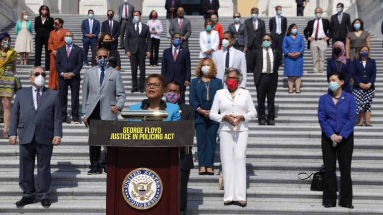 Rep. Karen Bass speaks during an event on police reform