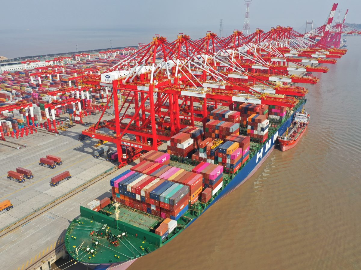 An aerial view of Yangshan Port in Shanghai in February. A prolonged shutdown of the Suez Canal would disrupt supply chains across the globe.