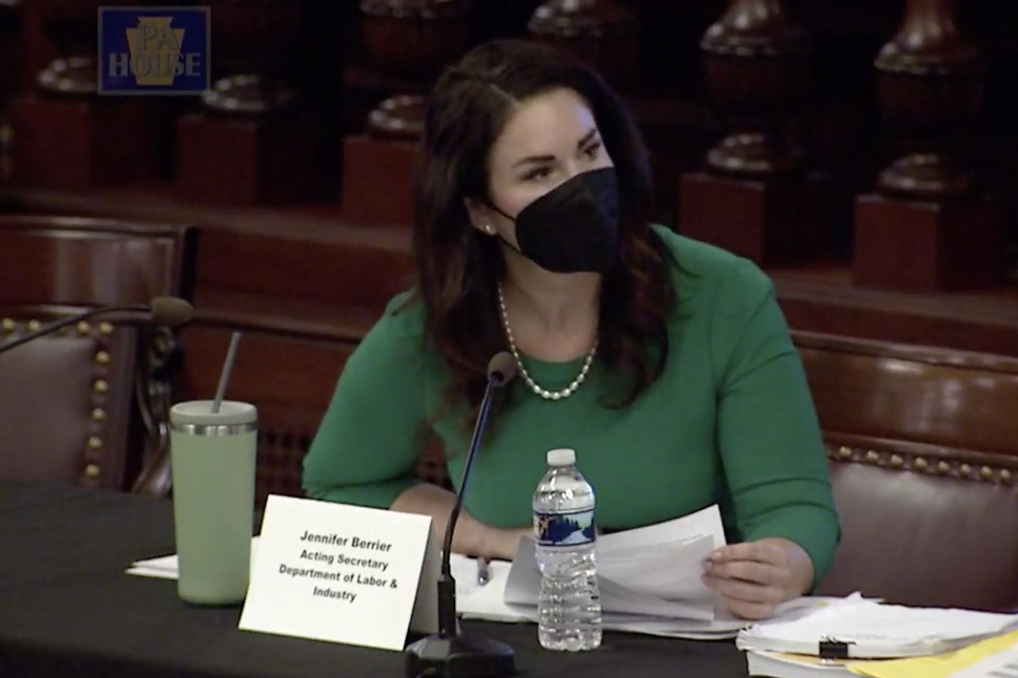 Jennifer Berrier answers House lawmakers' questions at a budget hearing