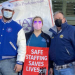 Scott Smith, right, and Scott Smith Jr., left, both seafarer union members, supported Julia Smith in her fight for safe staffing at St. Mary Medical Center in Langhorne. (Courtesy of Julia Smith)