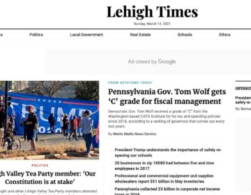 """Lehigh Times"" is one of 45 local news websites run in Pennsylvania by Metric Media, which has been found to fail basic journalistic standards for trustworthiness and credibility, according a new report. (Screenshot)"