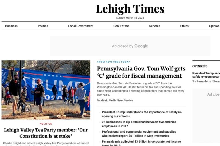 """""""Lehigh Times"""" is one of 45 local news websites run in Pennsylvania by Metric Media, which has been found to fail basic journalistic standards for trustworthiness and credibility, according a new report. (Screenshot)"""
