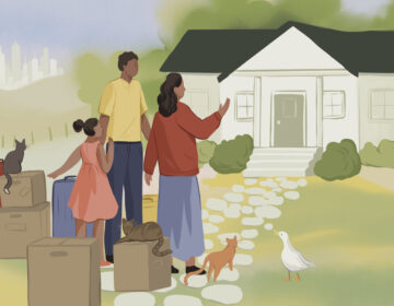 An illustration of a family in front of a home with moving boxes