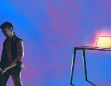 An illustration shows a person walking away from a glowing computer screen