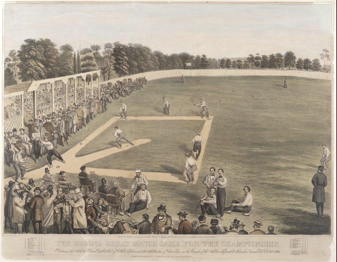 An artist's rendering of the Philadelphia Athletics playing in 1866