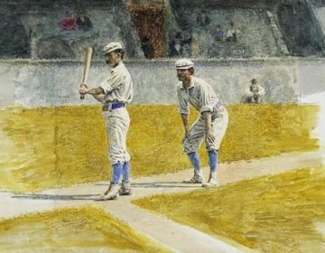 A painting of Philadelphia Athletics players practicing in 1875