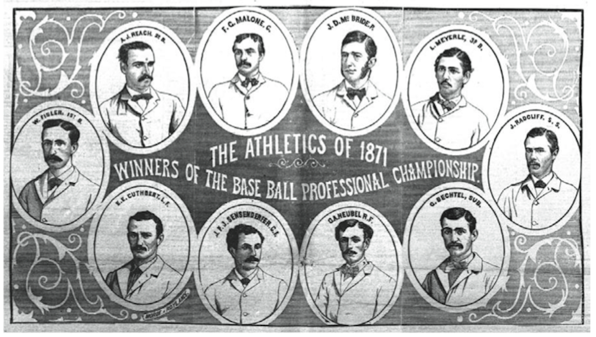 A notice in the New York Clipper announcing the Philadelphia Athletics as the inaugural champions of the National Association of Professional Base Ball Players