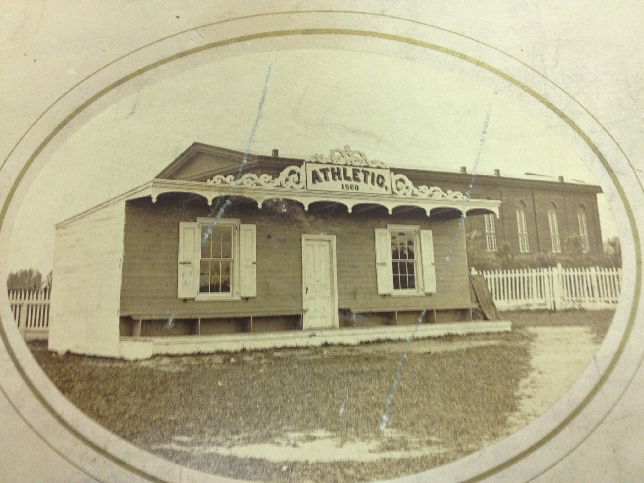 The clubhouse of the Athletic Base Ball Club of Philadelphia