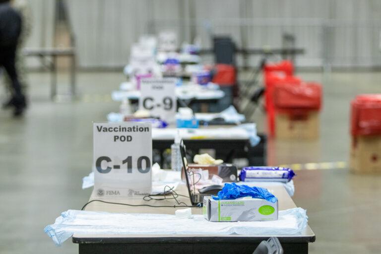Tables are set up inside the FEMA-run coronavirus vaccination site at the Pennsylvania Convention Center in Philadelphia