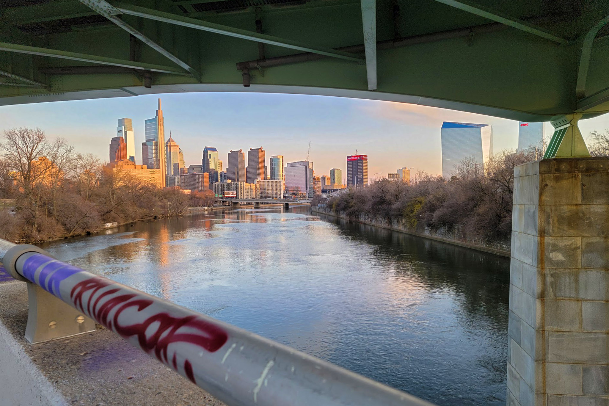 The Philly skyline as seen from a bridge