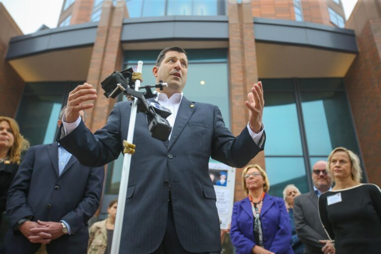 Rep. Mark Rozzi addresses the media