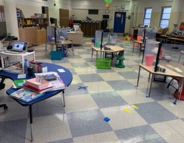 Desks are spaced apart in Samantha Rutherford's classroom