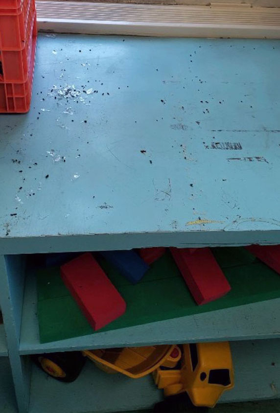 Dirty shelves are pictured inside a Philly classroom