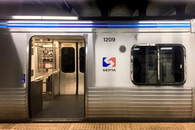 An empty SEPTA train car. (Anna Orso/Billy Penn)