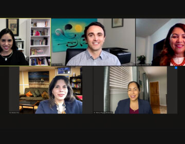 Clockwise from left, Diana Montoya-Williams, Jose Torradas, Brunilda 'Cookie' Sanchez, Natalia Ortiz, and Melissa Pluguez-Moldavskiy are members of Unidos Contra Covid. (Screenshot via Zoom)